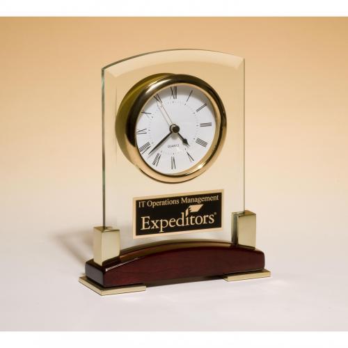 Glass Desktop Clock on Rosewood Base