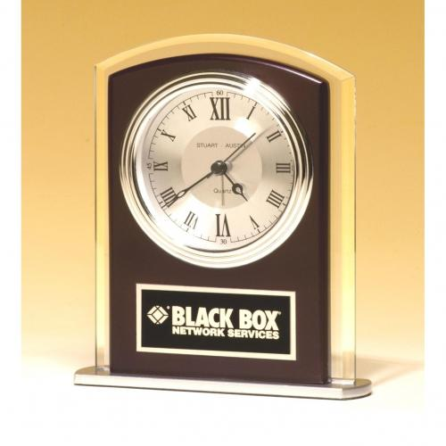 Glass Clock with Wood & Silver Accents