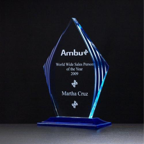 Clear & Blue Acrylic Diamond Award on Royal Blue Base