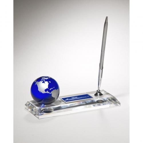Crystal Pen Set Award with Blue Crystal & Chrome Silver Globe on Crystal Base