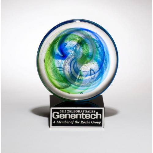 Green & Blue Art Glass Disk Award on Black Glass Base