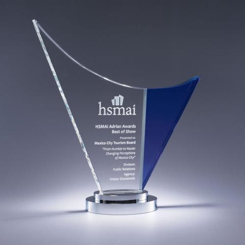 Blue & Clear Optical Crystal Wave Award on Chrome Base