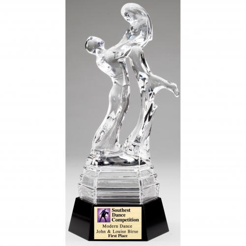 Optical Crystal Dance Lift Trophy on Black Base