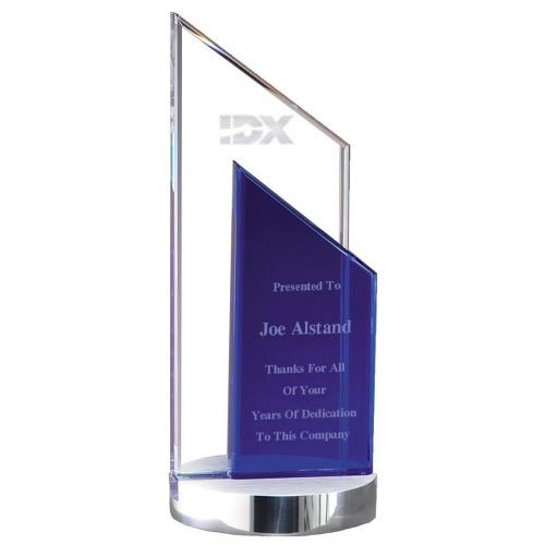 Clear & Blue Optical Crystal Trapezoid Duet Peak Award