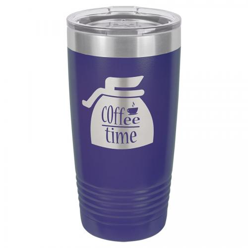 Polar Camel 20 oz. Purple Ringneck Vacuum Insulated Tumbler with Clear Lid