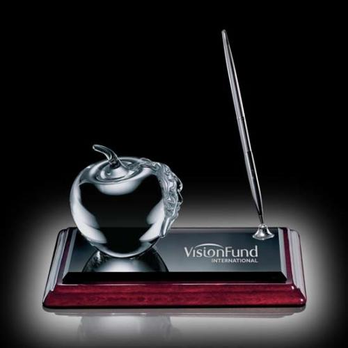 Albion Optical Crystal Apple Award with Chrome Pen Desk Set