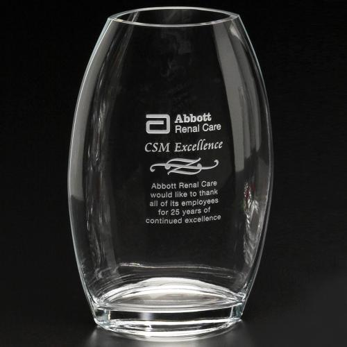 Clear Optical Crystal Oval Vase