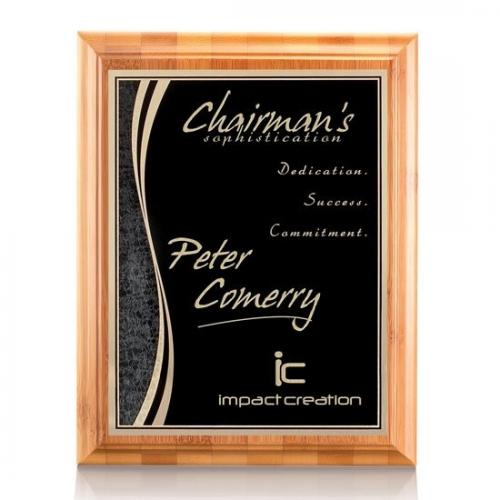 Eco Friendly Black & Marble Rectangle Plaque on Bamboo Frame