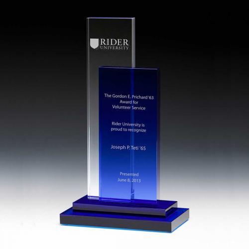 Blue & Clear Optical Crystal City Style Tower Award